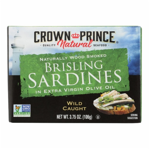 Crown Prince Brisling Sardines In Extra Virgin Olive Oil - Case of 12 - 3.75 oz. Perspective: front