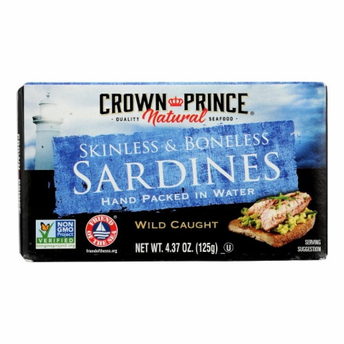 Crown Prince Skinless and Boneless Sardines In Water - Case of 12 - 4.37 oz. Perspective: front