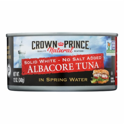 Crown Prince Albacore Tuna In Spring Water - Solid White - Case of 12 - 12 oz. Perspective: front