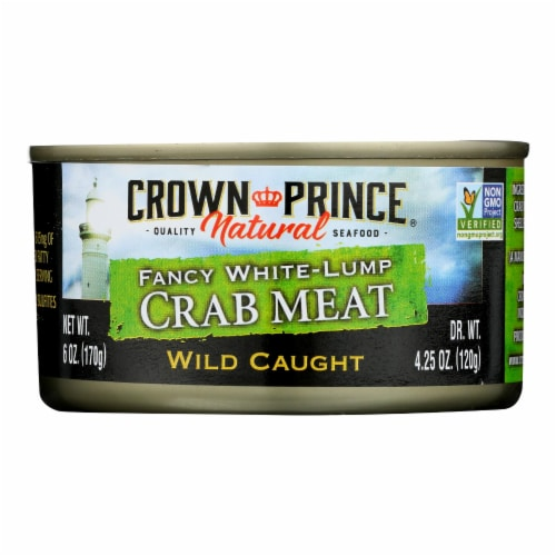 Crown Prince Crab Meat - Fancy White Lump - Case of 12 - 6 oz. Perspective: front