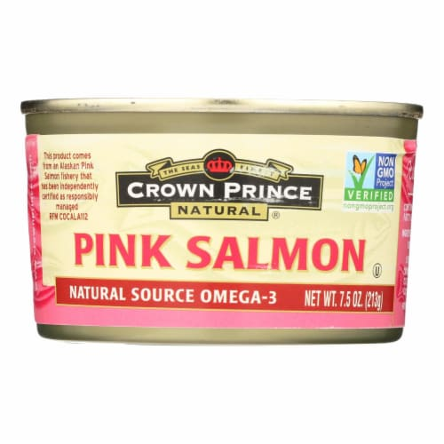 Crown Prince Alaskan Pink Salmon - Case of 12 - 7.5 oz. Perspective: front