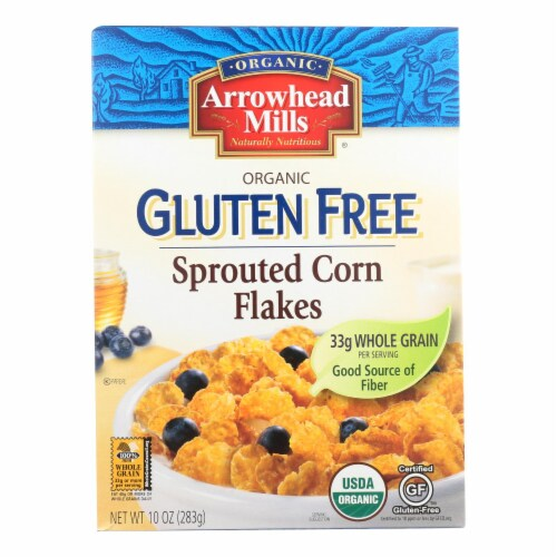Arrowhead Mills - Organic Gluten Free Cereal - Sprouted Corn Flakes - Case of 6 - 10 oz Perspective: front