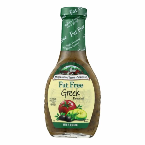 Maple Grove Farms - Fat Free Salad Dressing - Greek - Case of 12 - 8 oz. Perspective: front