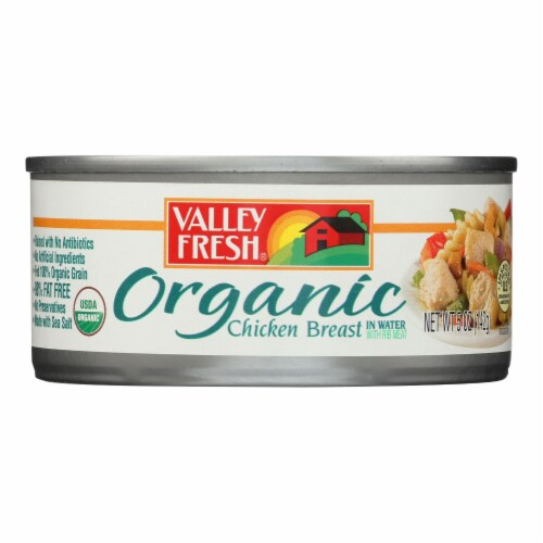 Valley Fresh Organic Chicken In Water  - Case of 12 - 5 OZ Perspective: front