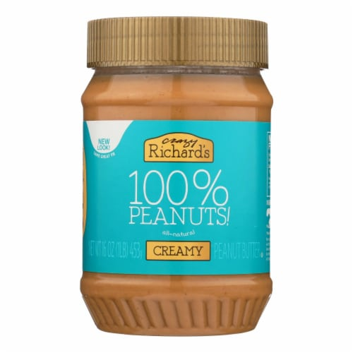 Crazy Richards Natural Creamy Peanut Butter - Case of 12 - 16 oz. Perspective: front
