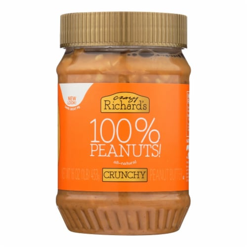 Crazy Richard's All-Natural Crunchy Peanut Butter - Case of 12 - 16 OZ Perspective: front
