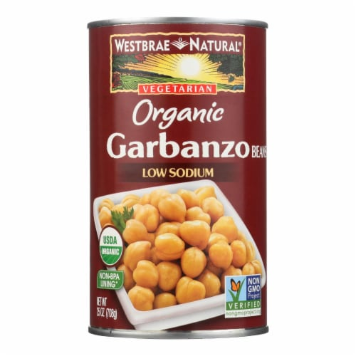 Westbrae Foods Organic Garbanzo Beans - Case of 12 - 25 oz. Perspective: front