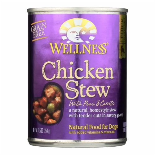 Wellness Pet Products Dog Food - Chicken with Peas and Carrots - Case of 12 - 12.5 oz. Perspective: front