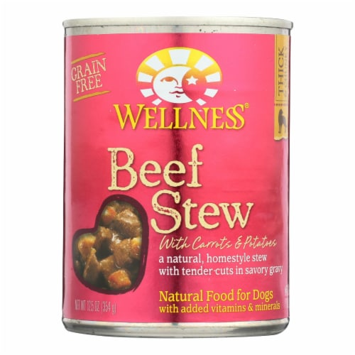 Wellness Pet Products Dog Food - Beef with Carrot and Potatoes - Case of 12 - 12.5 oz. Perspective: front