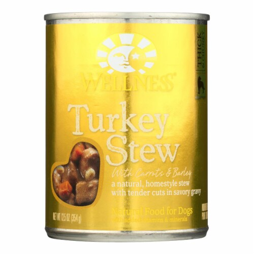 Wellness Pet Products Dog Food - Turkey with Barley and Carrots - Case of 12 - 12.5 oz. Perspective: front