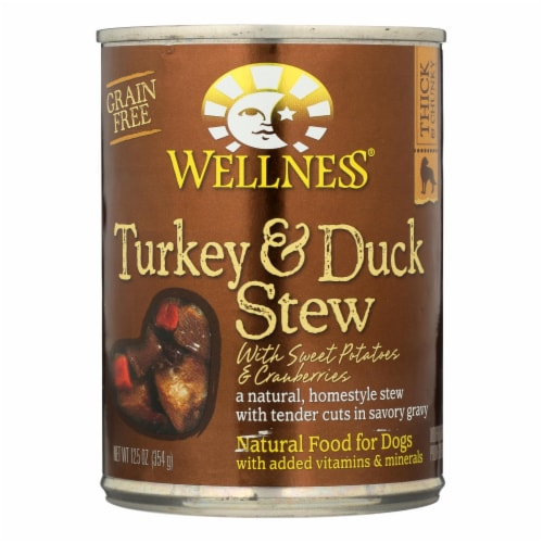Wellness Pet Products Dog Food - Turkey and Duck w Sweet Potatoes n Cranberries-12Case-12.5oz Perspective: front