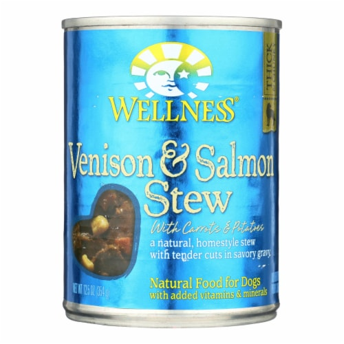 Wellness Pet Products Dog Food - Venison and Salmon w Potatoes n Carrots-Case of 12- 12.5 oz Perspective: front