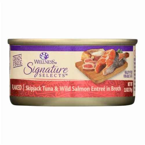 Wellness-Signature Selects Cat Food-Skipjack Tuna Wild Salmon Entrée in Broth-12Case-2.8oz Perspective: front