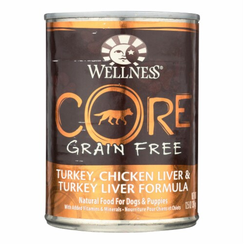 Wellness Pet Products Dog Food - Gain Free - Turkey and Chicken with Liver-Case of 12-12.5oz Perspective: front