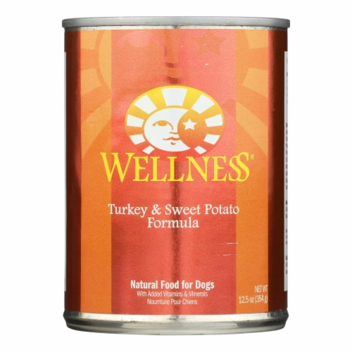 Wellness Pet Products Dog Food - Turkey and Sweet Potato Recipe - Case of 12 - 12.5 oz. Perspective: front
