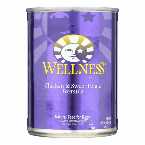 Wellness Pet Products Dog Food - Chicken and Sweet Potato Recipe - Case of 12 - 12.5 oz. Perspective: front