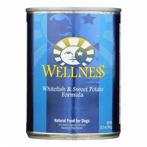 Wellness Pet Products Dog Food - Whitefish and Sweet Potato Recipe - Case of 12 - 12.5 oz. Perspective: front