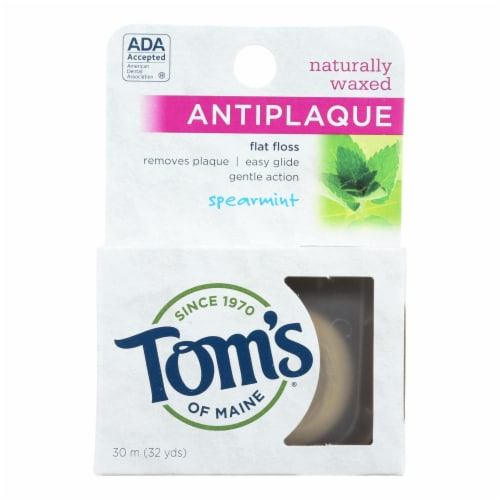 Tom's of Maine Antiplaque Flat Floss Waxed Spearmint - 32 Yards - Case of 6 Perspective: front