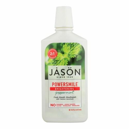 Jason PowerSmile Mouthwash Peppermint - 16 fl oz Perspective: front