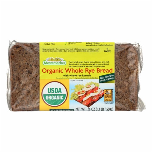 Mestemacher's Organic Whole Rye Bread  - Case of 12 - 17.6 OZ Perspective: front