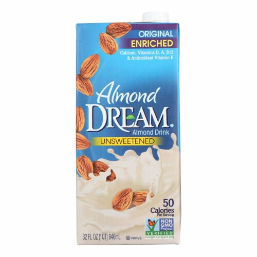 Imagine Foods Almond Dream Almond Drink - Unsweetened - Case of 12 - 32 Fl oz. Perspective: front