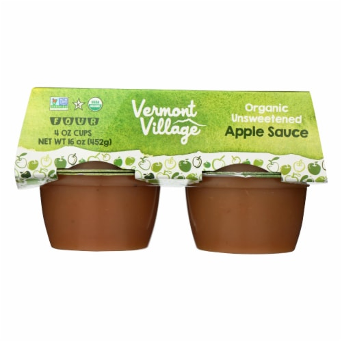 Vermont Village Organic Applesauce - Unsweetened - Case of 12 - 4 oz. Perspective: front