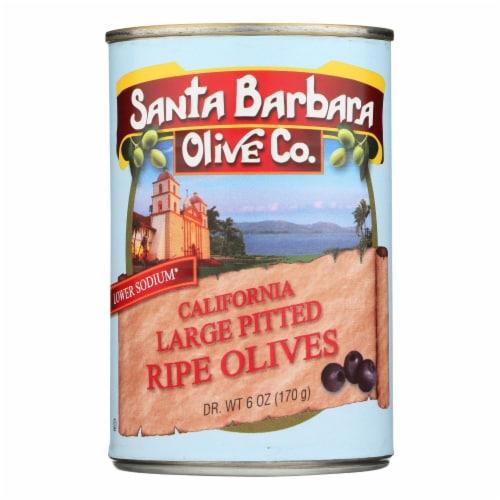 Santa Barbara Pitted Olives - Large Black - Case of 12 - 5.75 oz. Perspective: front