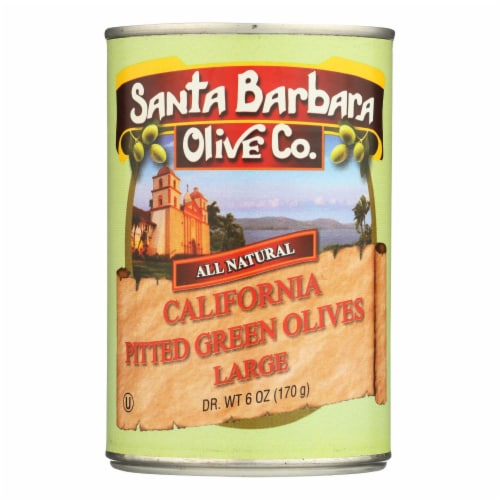 Santa Barbara California Green Olives - Pitted - Case of 12 - 5.75 oz. Perspective: front