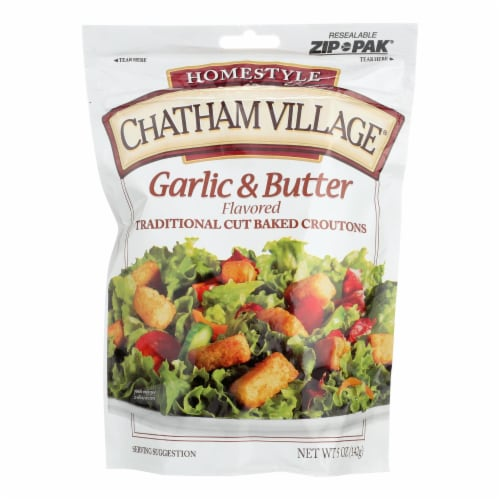 Chatham Village Traditional Cut Croutons - Garlic and Butter - Case of 12 - 5 oz. Perspective: front