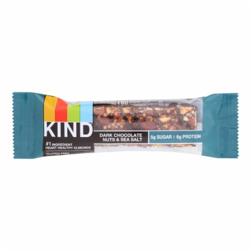 Kind Fruit and Nut Bars - Dark Chocolate Nuts and Sea Salt - 1.4 oz - Case of 12 Perspective: front