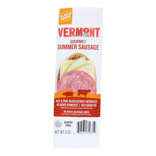 Vermont Smoke & Cure Summer Sausage  - Case of 12 - 6 OZ Perspective: front