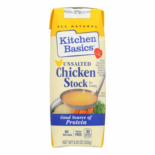 Kitchen Basics All Natural Unsalted Chicken Stock  - Case of 12 - 8.25 OZ Perspective: front