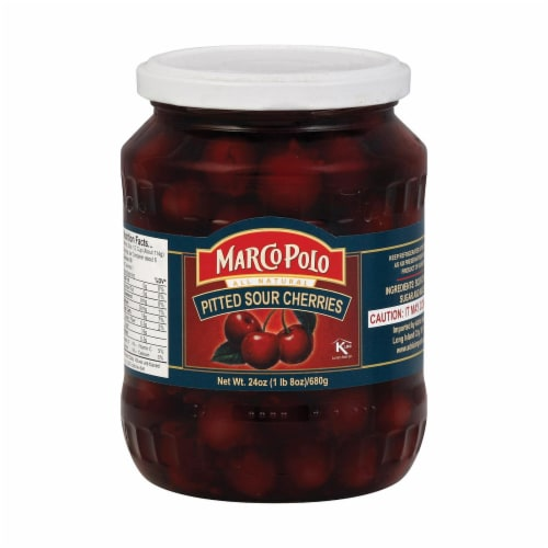 Marco Polo Sour Pitt Cherries - Case of 12 - 24 oz. Perspective: front