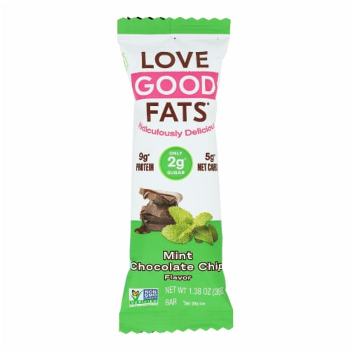 Love Good Fats - Bar Mint Chocolate Chip - Case of 12 - 1.38 OZ Perspective: front