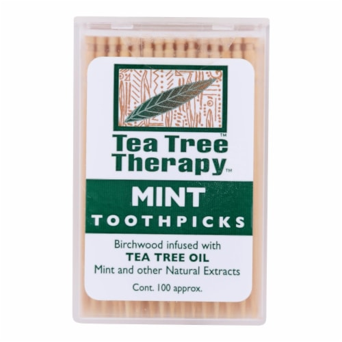 Tea Tree Therapy Toothpicks - 100 Toothpicks - Case of 12 Perspective: front