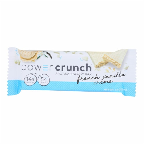 Power Crunch Bar - French Vanilla Cream - Case of 12 - 1.4 oz Perspective: front