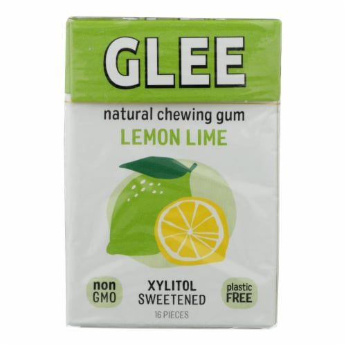 Glee Gum Chewing Gum - Lemon Lime - Sugar Free - Case of 12 - 16 Pieces Perspective: front