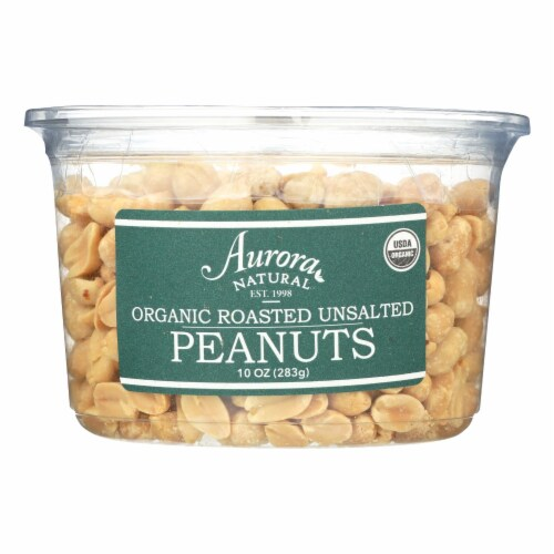 Aurora Natural Products - Organic Roasted Unsalted Peanuts - Case of 12 - 10 oz. Perspective: front