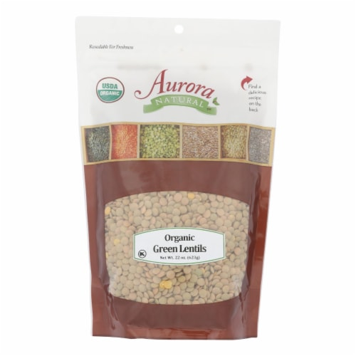 Aurora Natural Products - Organic Green Lentils - Case of 12 - 22 oz. Perspective: front