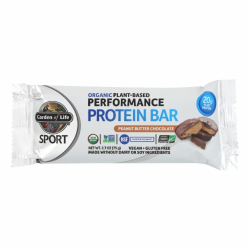 Garden Of Life - Sport Protein Bar - Peanut Butter Chocolate - Case of 12 - 2.7 OZ Perspective: front