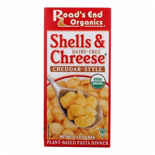 Road's End Organics Shells and Cheese Pasta - Cheddar Style - Case of 12 - 6.5 oz. Perspective: front