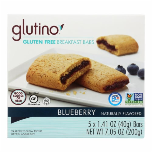 Glutino Breakfast Bars - Blueberry - Case of 12 - 7.1 oz. Perspective: front