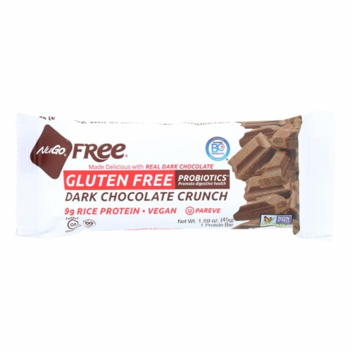 Nugo Nutrition Bar - Gluten Free Dark Chocolate Crunch - Case of 12 - 45 Grams Perspective: front
