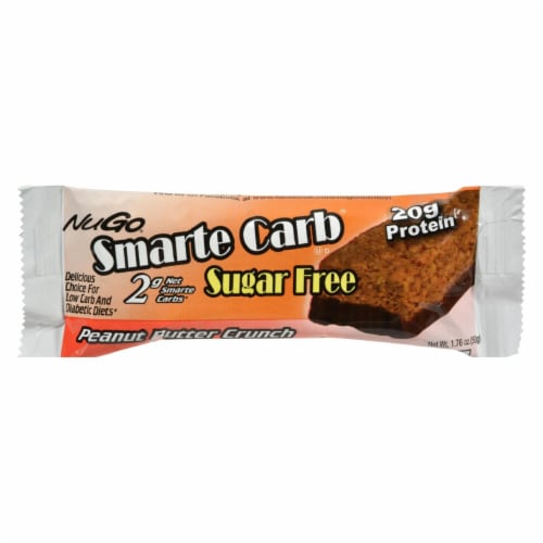 Nugo Nutrition Smarte Carb Bar - Peanut Butter Crunch - Case of 12 - 1.76 oz Perspective: front