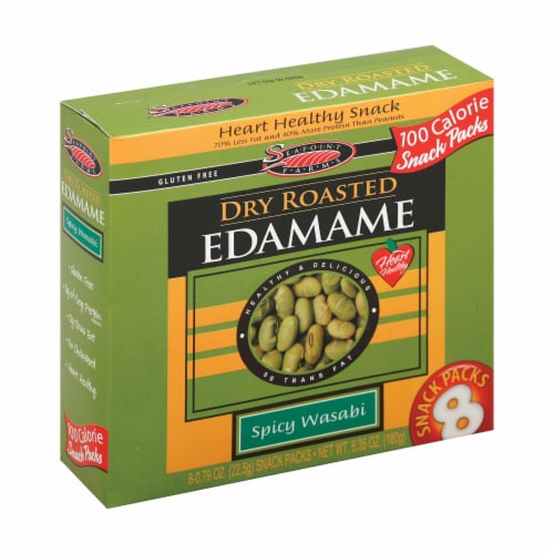 Seapoint Farms Dry Roasted Edamame - Spicy Wasabi - Case of 12 - 0.79 oz. Perspective: front