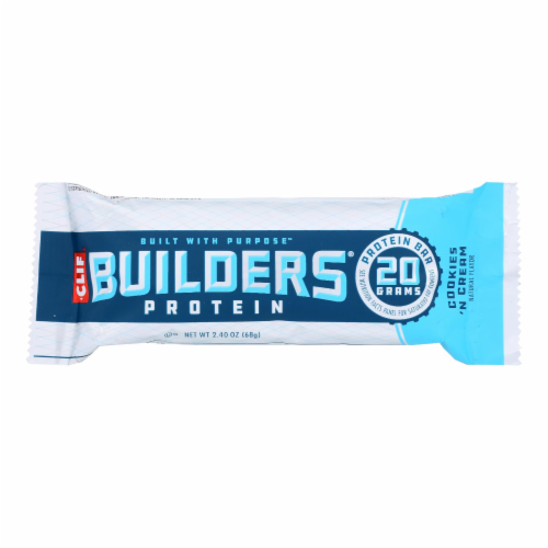 Clif Bar Builder Bar - Cookies and Cream - Case of 12 - 2.4 oz Perspective: front