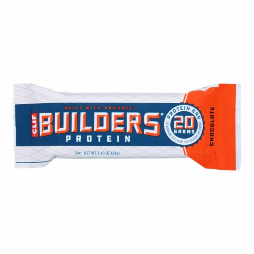 Clif Bar Builder Bar - Chocolate - Case of 12 - 2.4 oz Perspective: front