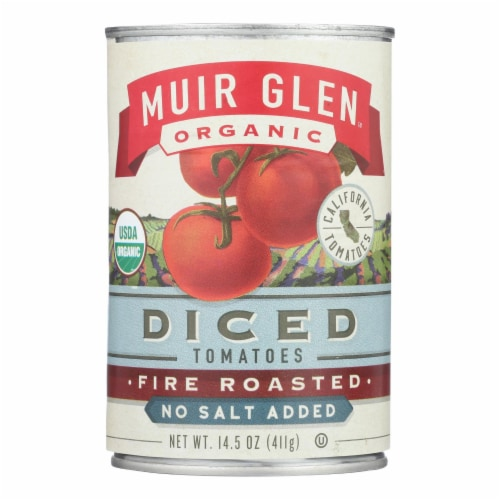 Muir Glen Diced Fire Roasted Tomato No Salt - Tomato - Case of 12 - 14.5 oz. Perspective: front