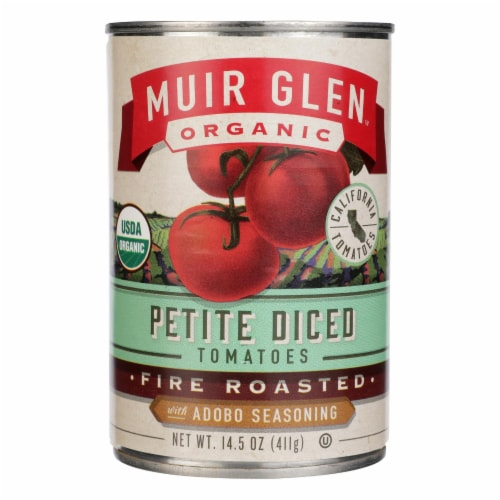 Muir Glen Diced Adobo Fire Roasted Tomato - Tomato - Case of 12 - 14.5 oz. Perspective: front