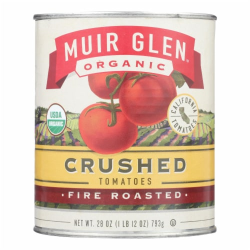 Muir Glen Fire Roasted Crushed Tomato - Tomato - Case of 12 - 28 oz. Perspective: front